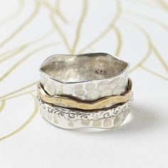 Bronze And Silver Spinning Ring