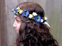 Flower Hair Wreath  Midnight Blue & Cream by BloomDesignStudio, $42.00