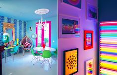 awesome neon room! http://www.fancyhouseroad.com/wp-content/uploads/2012/04/neon-color-decor-room-bright-vivid-80s-ingrid-rasmussen1.jpg