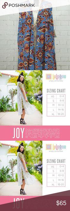 LuLaRoe Joy Vest Size L NWT LuLaRoe Joy vest size L. Please refer to size chart for more information. LuLaRoe  Sweaters Cardigans