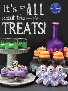 Happy Halloween Bakery Poster by Bake Sale Toronto Bake Sale Poster, Happy Halloween, Halloween Party, Fun Cupcakes, Freshly Baked, Cake Pops, Toronto, Bakery, Posters
