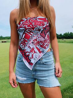 College Shirts, College Outfits, College Apparel, Alabama College, College Game Days, Thing 1, Ole Miss, One Shoulder Tops, Fourth Of July
