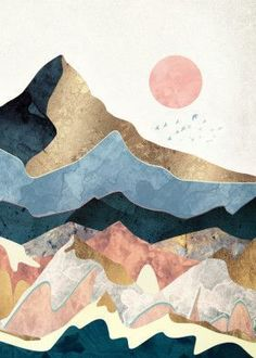 art inspo Loving this beautiful abstract painting of the moon Art And Illustration, Mountain Illustration, Landscape Illustration, Nature Illustrations, Illustrations Posters, Poster Design, Art Design, Painting Inspiration, Art Inspo