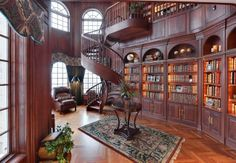 Cherry Library w/ Double Helix Staircase