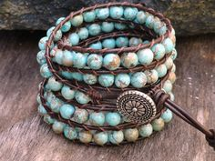 Turquoise Beaded Leather Wrap Bracelet Western by WrappedInLeather, $59.95