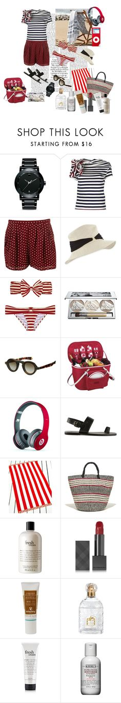 """""""Beach pic-nic"""" by nathalie-puex ❤ liked on Polyvore featuring Movado, Y's by Yohji Yamamoto, Eugenia Kim, Été Swim, Chantecaille, Burberry, Picnic at Ascot, Beats by Dr. Dre, Tomas Maier and Martha Stewart"""