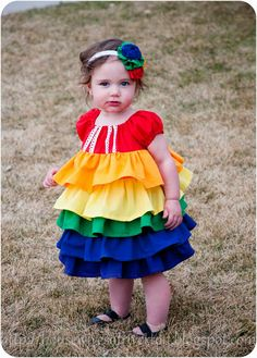 The REAL Housewives of Riverton: A rainbow ruffle dress for the baby! diy rainbow dress, ruffl dress, rainbow ruffl