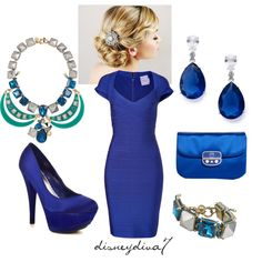 Royal Blue, stunning!! Would like it even better without the necklace. Too much bling for me.