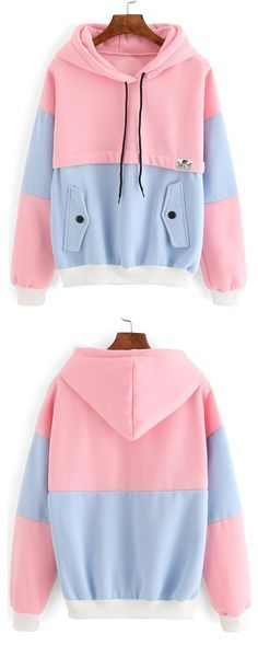Colour-block Drawstring Hooded Pockets Sweatshirt -SheIn(Sheinside)