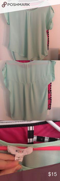 Sheer blouse Mint sheer dress shirt Tops Blouses