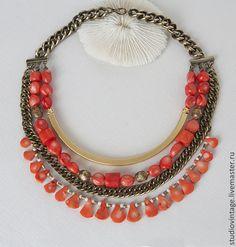 Купить Колье Bright Coral - коралловый, коралл, коралловые бусы, коралл красный, коралловый цвет