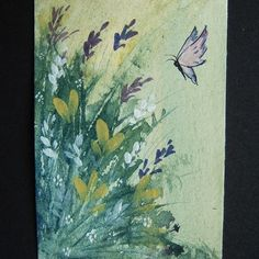 floral butterfly art aceo painting watercolour ref 232 £4.00