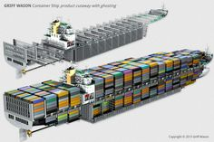 Griff Wason : Container Ship, literally packed to the gills. Merchant Navy, Merchant Marine, Scale Model Ships, Marine Engineering, Ship Drawing, 3d Modelle, Concept Ships, Deck Plans, Tug Boats
