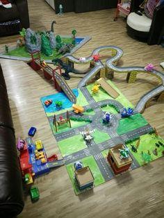 City map, bridge, dino land