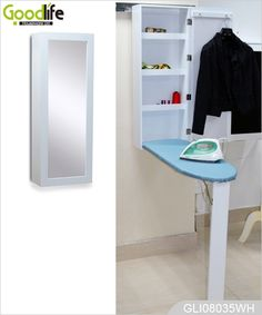 Montado en la pared plegable de madera gabinete tabla de planchar con espejo GLI08035