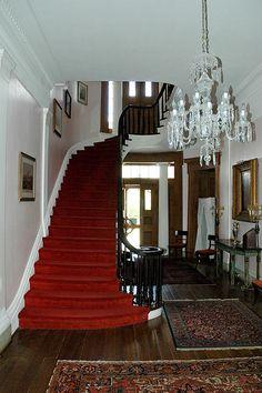 Madewood Plantation - Louisiana .. Red staircase .. So elegant ..Always my favorite❤