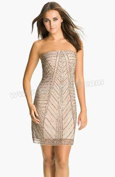 Strapless Embellished Mesh Dress