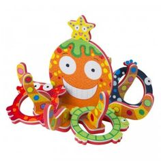 This bathtime toy comes with a floating Octopus and six sea-animal shaped rings to toss onto its legs.
