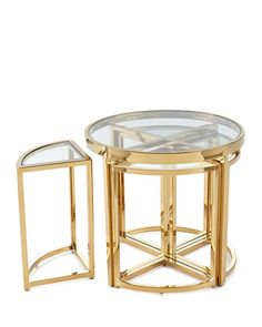 Shop Majestic Golden Side Table Set from Regina Andrew Design at Horchow, where you'll find new lower shipping on hundreds of home furnishings and gifts. Marble Furniture, Industrial Furniture, Small Tables, Polished Nickel, Steel Frame, Table Settings, Neiman Marcus, House Styles, Glass