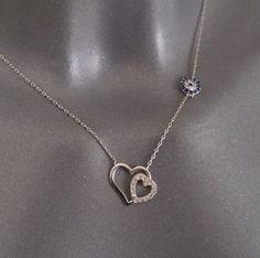 Vintage Halsschmuck - Halskette Silber 925er Kristalle Herz Blume SK1037 - ein Designerstück von Atelier-Regina bei DaWanda
