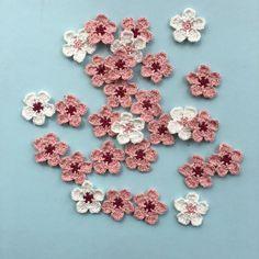 Ravelry: Cherry Blossom pattern by In the Yarn Garden Crochet Flower Headbands, Knitted Flowers, Crochet Flower Patterns, Thread Crochet, Diy Crochet, Crochet Things, Crochet Ideas, Knitting Projects, Crochet Projects