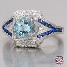 Deco Aquamarine Engagement Ring