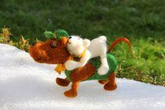 Bäraufbinden leichtgemacht, Hund und Bär, gefilzt von Frau Brunsels Filz auf DaWanda.com