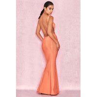 'Ophelia'  Tangerine Backless Maxi Bandage Dress