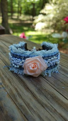 Frayed Denim Bracelet with Beaded Lace and a Peach by DenimReDooz
