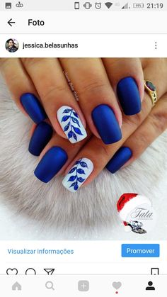 nails 18 super modele de unghii albastre pe care nu trebuie sa le ratezi مناكير و أظافر blau, nails – 18 super modele de unghii albastre pe care nu trebuie sa le ratezi – مناكير و أظافر - NailiDeasTrends Elegant Nail Designs, Blue Nail Designs, Elegant Nails, Blue Nails With Design, Nails Design, Spring Nail Art, Spring Nails, Hair And Nails, My Nails