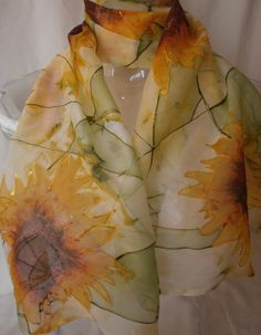 Sunflower Geometry Hand Painted Silk Scarf by LussyDesign on Etsy 48$
