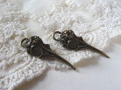 5- Bird Skull Pendants Dead Bird Head Long Beak Bronze Bohemian Statement Creepy Cranium Charms Day of the Dead Jewelry Supplies Inv0005 by BuyDiy on Etsy