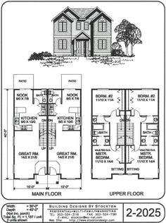 Potential for rear entry two car garages fir single family for Duplex plans that look like single family
