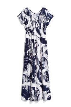 Navy Blue & White Abstract Print Maxi Dress - Stitch Fix Style Quiz