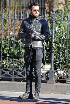 Justin Theroux in #Balmain Skinny Biker Jeans. Biker Jeans are a great way to change up the type of pants you wear
