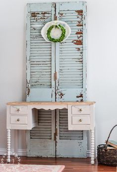 """Farmhouse Style Desk Makeover, featuring Fusion's """"Putty"""", which is the perfect neutral color for your next Farmhouse piece"""