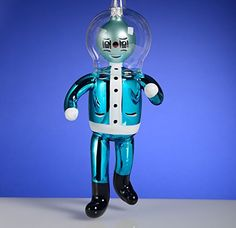 De Carlini Astronaut in Blue Suit Italian Mouthblown Glass Christmas Ornament