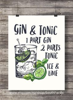 Gin and Tonic with lime | printable Cocktail Illustration | Bar Decor | Kitchen…