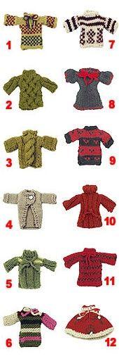 Twelve miniature sweater ornaments tutorial.
