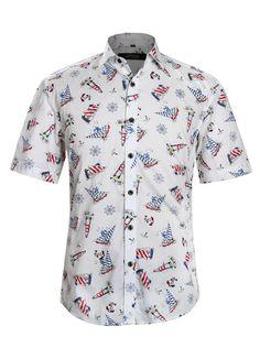 b26fa994799e13 APTRO Men s Short Sleeve Floral Shirt Hawaiian Flower Lapel Shirt  Amazon.co .uk  Clothing