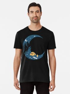 'Camping by the campfire in the moonlight' Premium T-Shirt by giftsbyminuet.  Enjoy a break from the real world and go camping. Relax by your campfire, pitch your tent and lie under the stars and the moon. Perfect gift for camping enthusiast or give a message about stress relief.  #camping #campfire #therapy #moon #moonlight #tent #fire #relaxing #giftideas #fashion #onlineshopping #artsandcrafts #redbubble #redbubbleartist #art #redbubbleshop #findyourthing #ad @redbubble @giftsbyminuet Under The Stars, The Real World, Go Camping, Stress Relief, Pitch, Moonlight, Chiffon Tops, Tent, Classic T Shirts