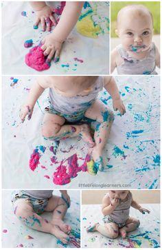 Edible Painting for Babies (rice cereal + food colouring)| simple and easy paint recipe for sensory play | play ideas for babies and toddlers | allergy friendly recipe | outside play | baby play 6, 9, 12 months |