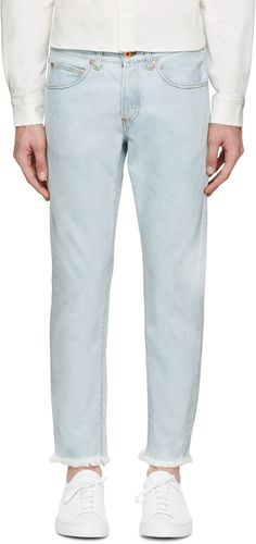 Off-White - Blue Frayed & Cropped Jeans