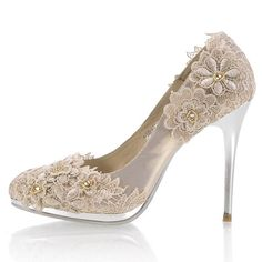 High Heel Closed Toes Lace Crystral Champagne Wedding Shoes