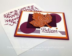 stampin up lighthearted leaves autumn card idea mary fish envelope liner