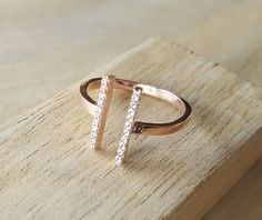 Rose gold vermeil ring  with clear zirconium by AtelierAdelaideFR