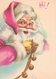 Image result for vintage pink santa smiling