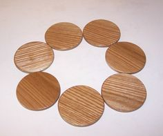 7 Round Coasters  Handcrafted From Solid Oak by tomroche on Etsy