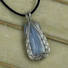 Blue Lace Agate Pendant .925 Sterling Silver Necklace Wire