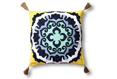 Medallion 18x18 Cotton Pillow, Yellow